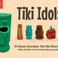Tiki Idols! Ten Cool Hawaiian Illustrations to use in your own designs