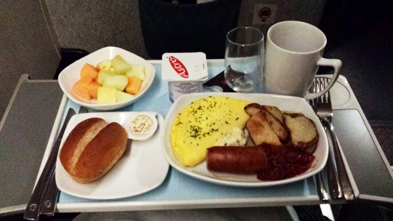 My tasty and unexpected business class breakfast.
