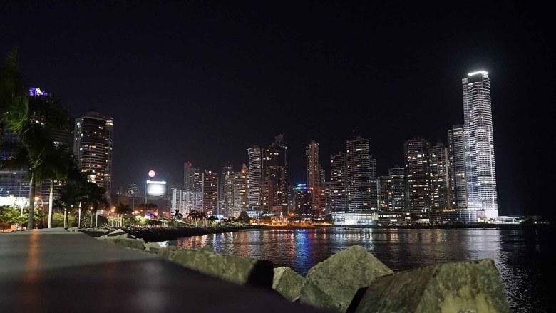 Night cityscape of Panama City.