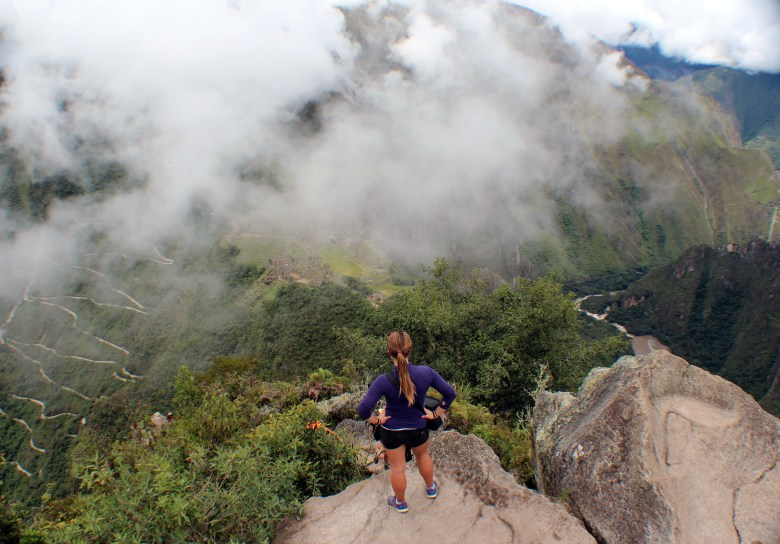 A view down to Machu Picchu from Huayan Picchu. There are clouds in this photo but it did clear up while I was there.