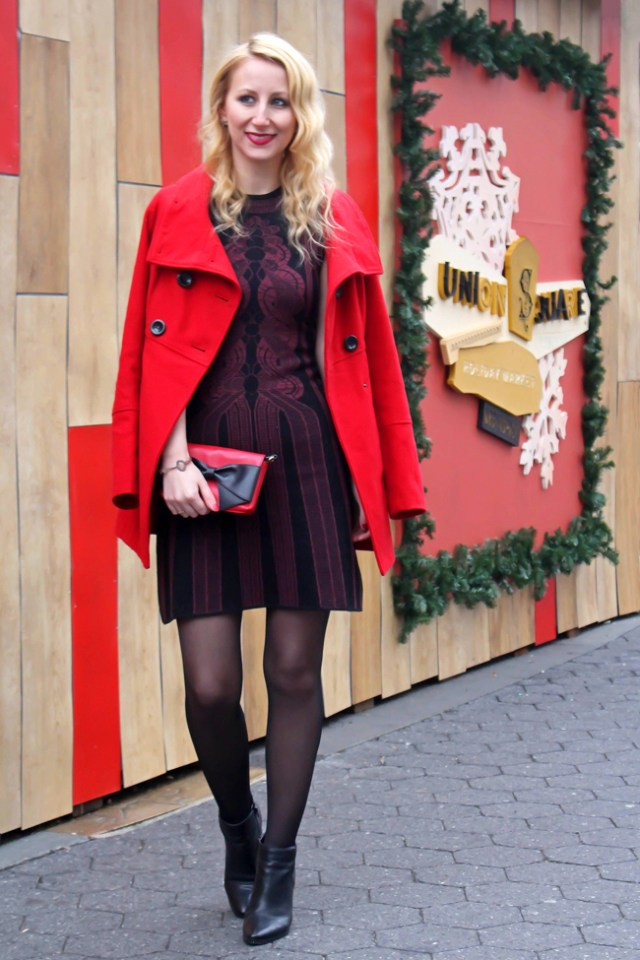 Holiday outfit - red coat and Max Studio dress