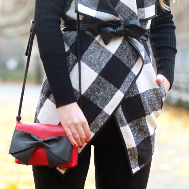 plaid coat and red Kate Spade Hanover Street Aster bag