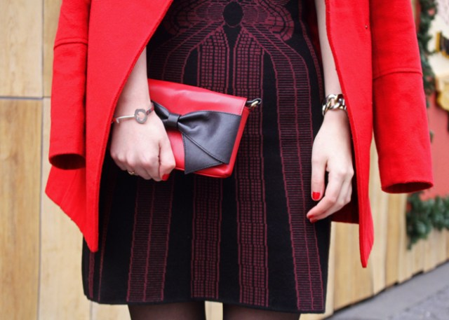 Holiday outfit details: Max Studio dress and red Kate Spade bow bag