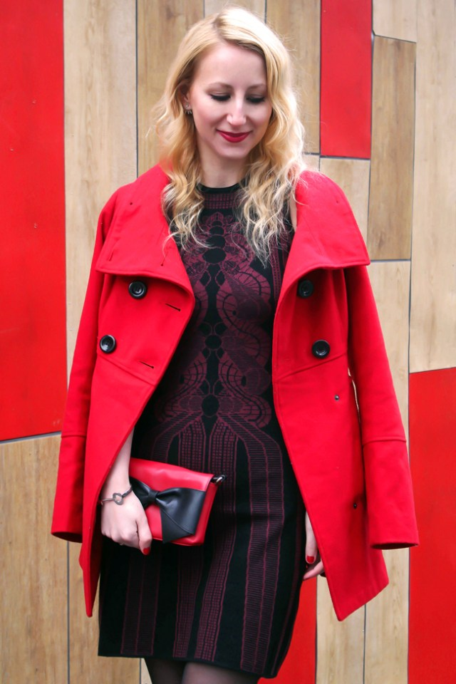 Holiday outfit: Max Studio sweater dress and red coat