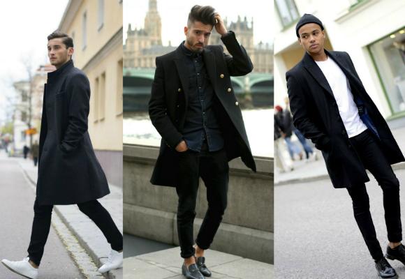 hombre moda abrigo negro