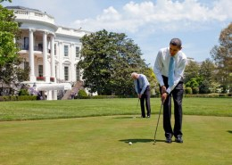 President Barack Obama and Vice President  Joe Biden practice their putting on the White House putting green April 24, 2009. Official White House Photo by Pete Souza