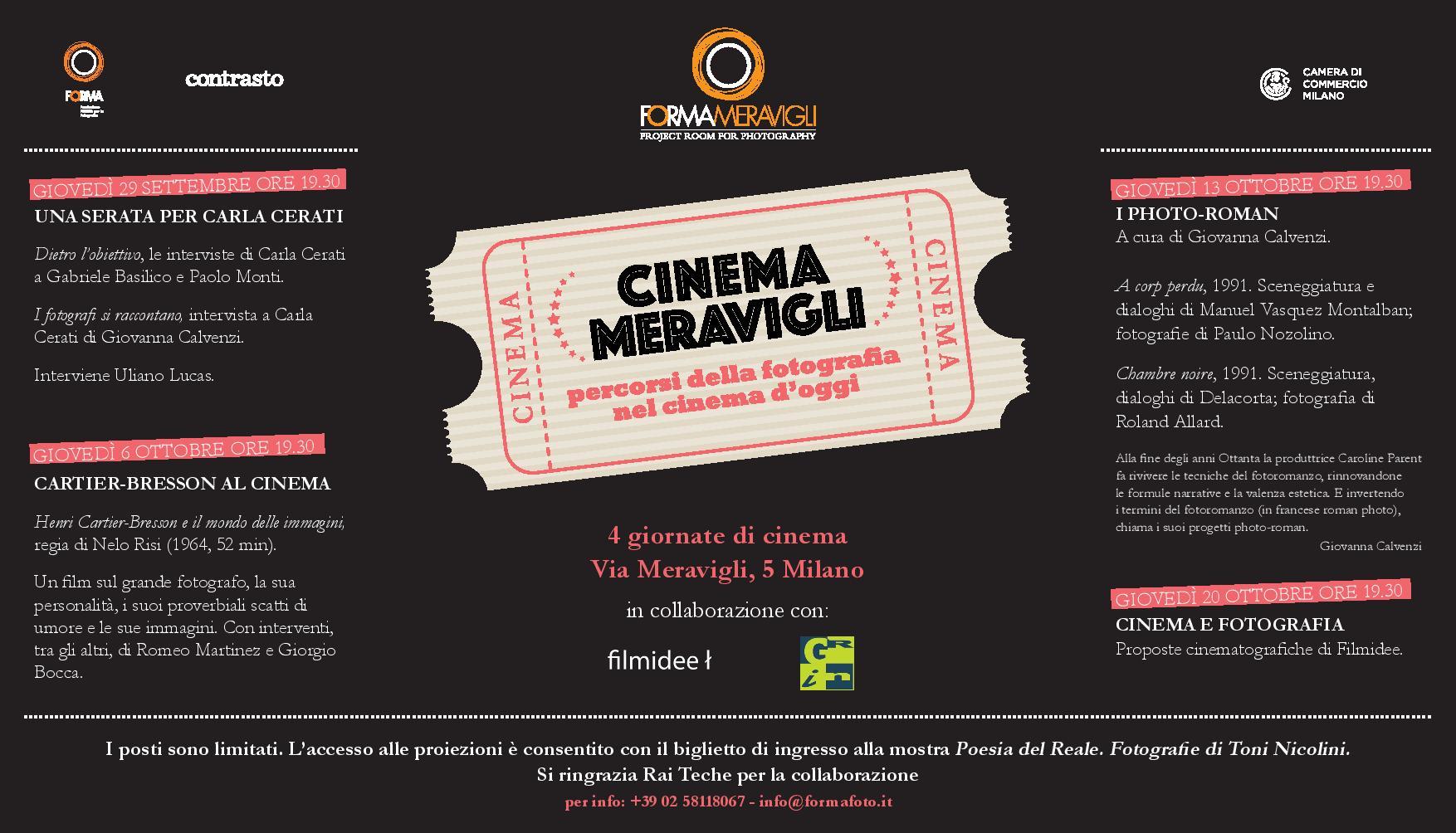 Cinema e fotografia. Torna a Milano l'appuntamento con 'Cinema Meravigli'