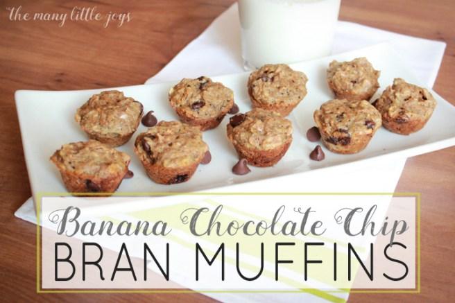 Mini Banana Chocolate Chip Bran Muffins copy