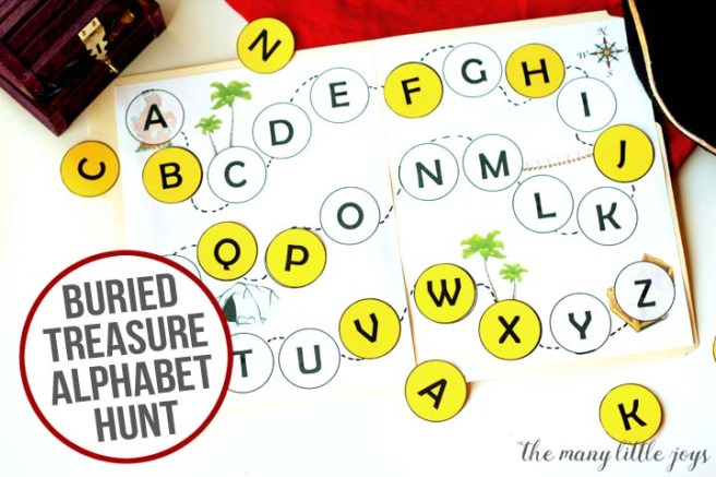"This simple printable ""buried treasure hunt"" preschool game is a great way to get your kiddos moving, learning the alphabet, and practicing essential preschool skills--like matching."