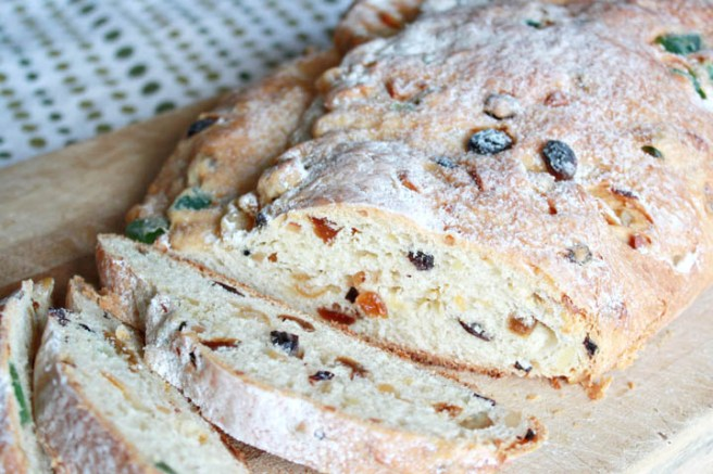 This light, sweet bread dotted with candied fruit and nuts is a tasty Christmas tradition from Germany that our family has enjoyed for years, and I'm sure yours will, too!