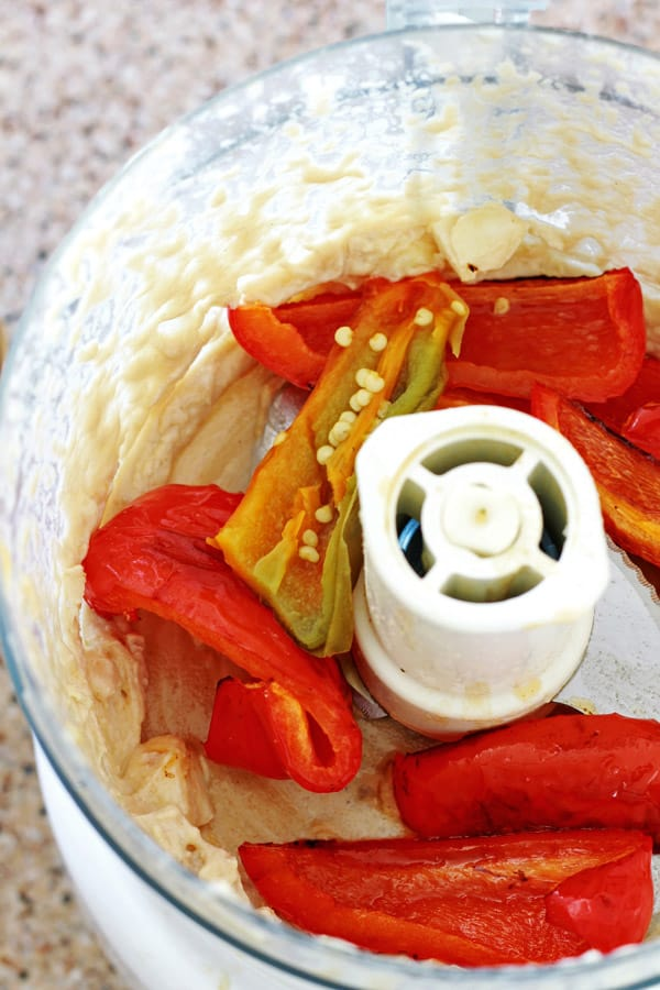Roasted red pepper hummus the mediterranean dish for Recipe red pepper hummus