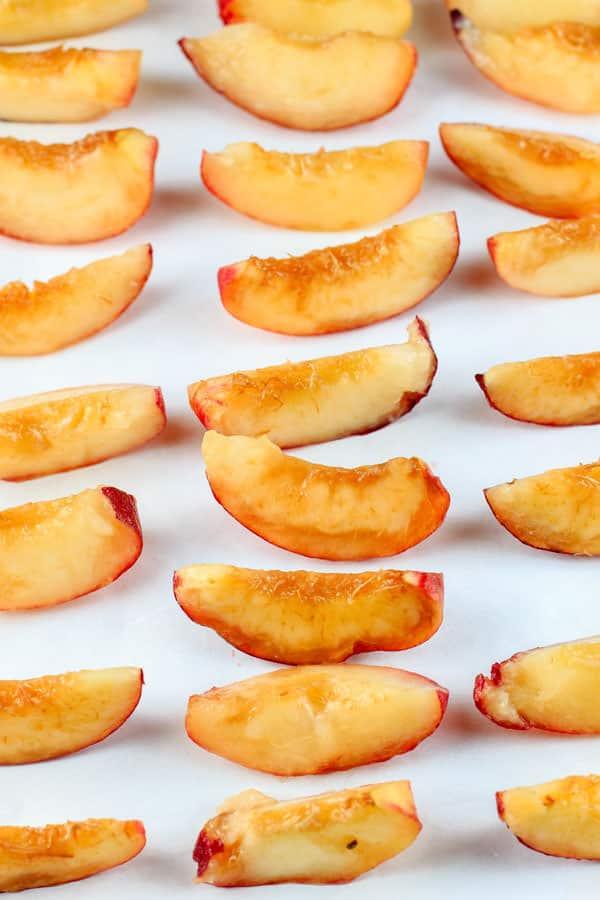Roasted Peaches and Orange Whipped Greek Yogurt Crostini