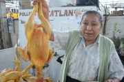 Lulu, a chicken vendor, at Mercado Juarez in Mexico City
