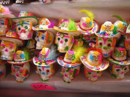 Cowboy sugar skulls at the Feria de Alfeñique in Toluca, Estado de Mexico