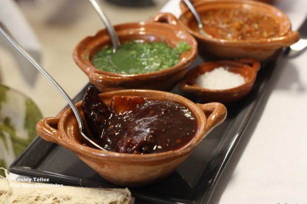 Salsas at Nicos in Mexico City.