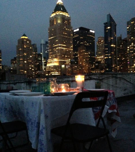 Dining on the roof in Hell's Kitchen, courtesy of my friend Shaw.