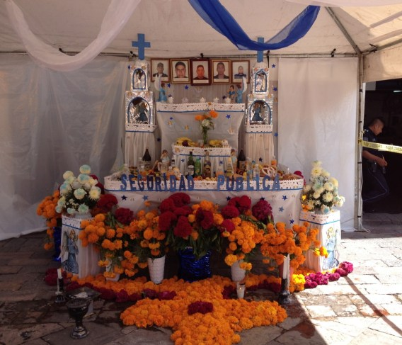 The altar dedicated to the Atlixco police department.