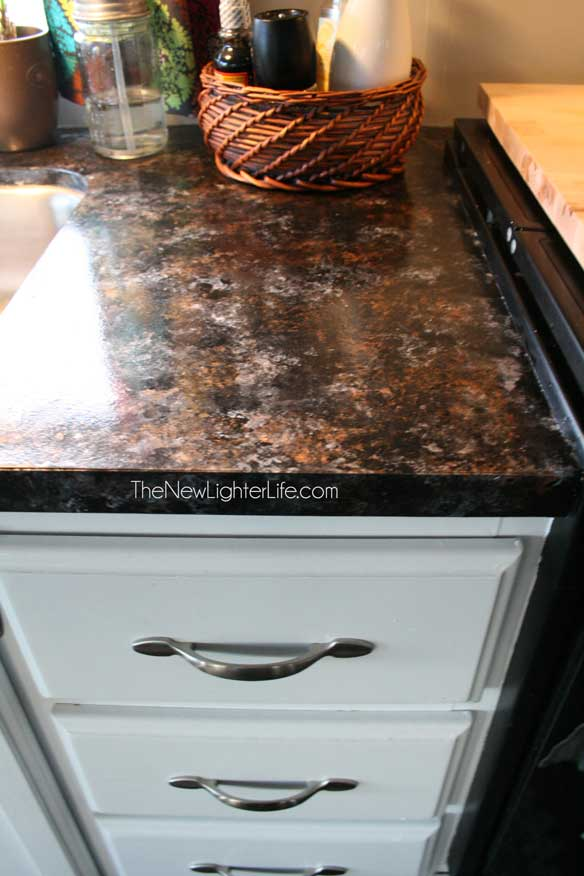 Here is a view of another section of countertop after we painted the ...