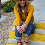 Mustard sweater and polka-dots