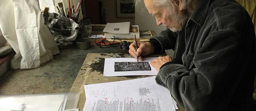 Birtley Aris illustrating Peter Bennett's poetry book