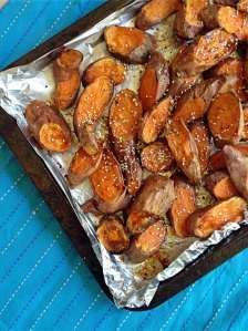 Baked Sweet Potato with Maple Syrup and Sesame Seeds