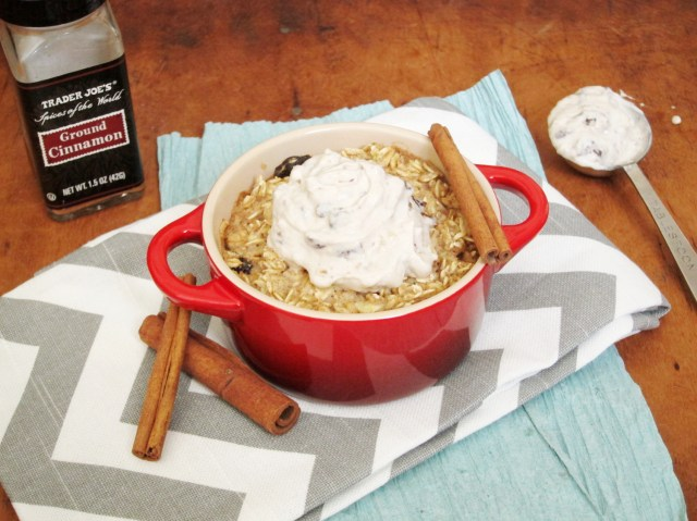 Cinnamon-Raisin Baked Oatmeal with Raisin-Walnut Tofu Cream Cheese by The Oatmeal Artist
