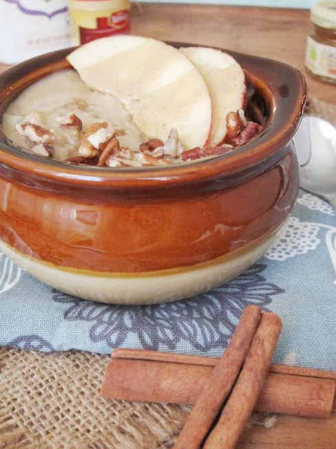 Apple Oatmeal with Tahini and Honey by the Oatmeal Artist - Sub maple or agave for vegan!