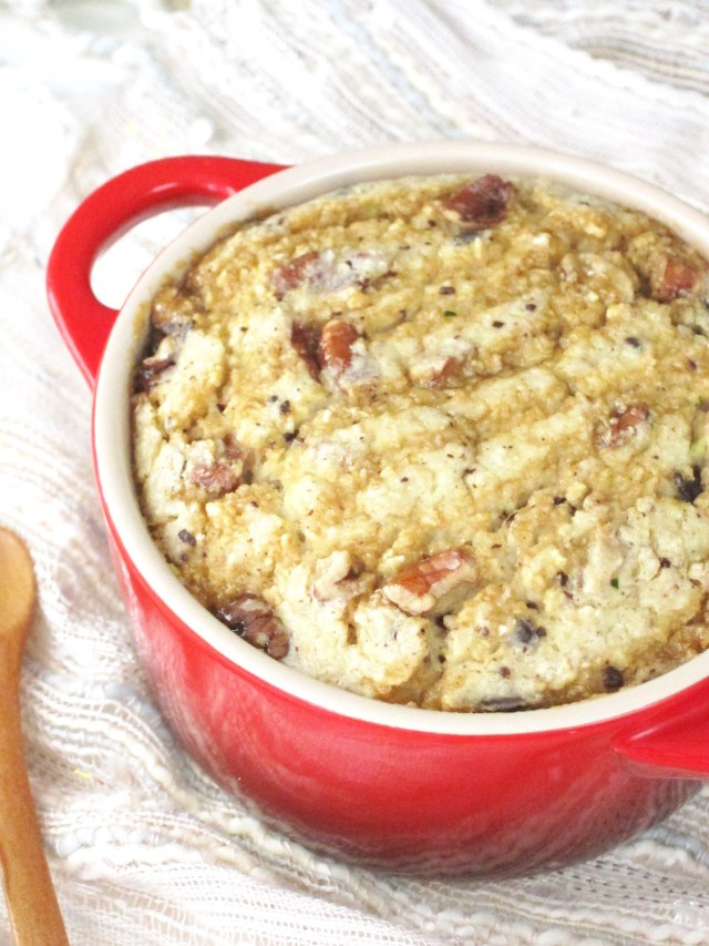 Turtle Cheesecake Baked Oatmeal #oatmealartist #vegan