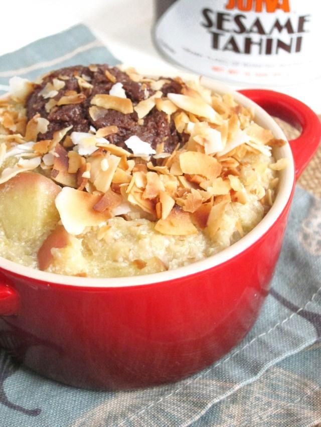 Apple Oatmeal with Chocolate Tahini and Coconut #oatmealartist