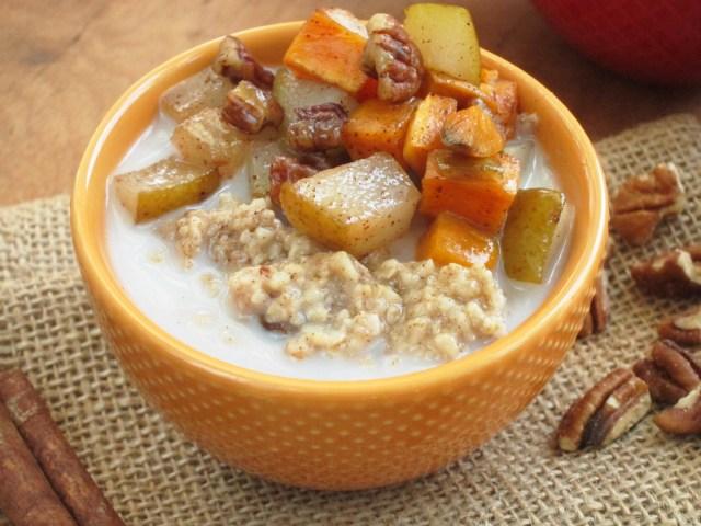Cinnnamon Raisin Oatmeal with Maple Roasted Sweet Potato and Pear #OatmealArtist