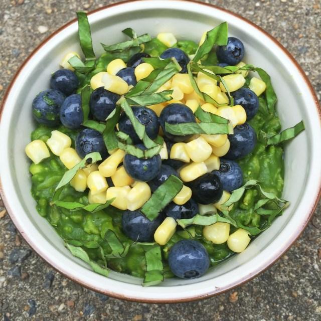 Savory Blueberry, Corn, and Basil Oatmeal #vegan