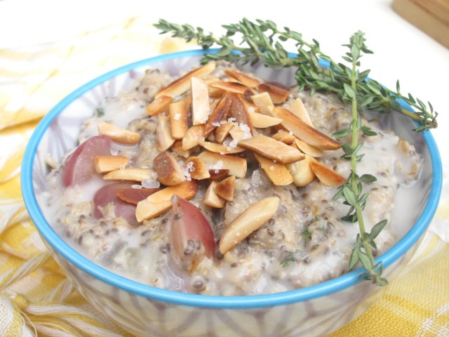 Salted Almond, Grape, and Thyme Oatmeal by the Oatmeal Artist #vegan