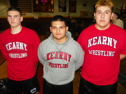 From left, Ryan Michaels, Jose Castillo and Renato Matta represent Kearny's hopes in this weekend's Region 4 tournament. All three Kearny wrestlers placed third last weekend at District 16 in North Bergen.