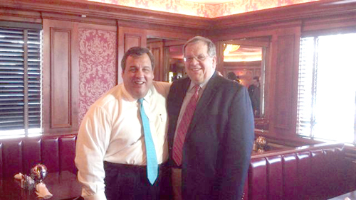 Photo courtesy Town of HarrisonGov. Chris Christie (l). and Harrison Mayor Ray McDonough at Tops Diner in East Newark last week.