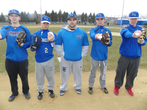 Photo by Jim Hague The North Arlington High School baseball team will look to pitchers, from left, Jeff Frytek, Mike Brazzel, head coach Paul Marcantuono, Eric Costela and Ryan Fego to lead the way this season.