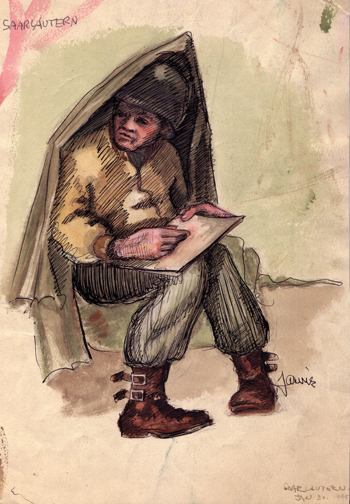Courtesy of John Jarvie Jarvie created this image of another Ghost Army G.I. sketching in a tent in 1944.