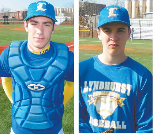 Photos by Jim Hague LEFT: Lyndhurst Post 139 catcher Austin Meeney. RIGHT: Lyndhurst Post 139 pitcher/infielder Kevin Rehbein.