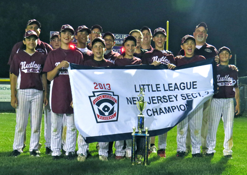 Photo courtesy Lisa O'Neill The Nutley East Little League 12-year-old All-Stars are headed for the state championships this week. Here they are after they captured the Section 2 championship last week against Hoboken. From l: Natalia Bascunan, coach Chris Bascunan, AJ Lotito, Jeremy Kraft, Danny Caraballo, Jim Quinn, Manager Mike O'Neill, Jack Christman, Louis Conca, Ryan O'Mara, Nutley East Little League President Mike Kraft, Josh O'Neill, Aidan Okamoto-Wolf, coach Mike Ifverson and Peter Lopez. Missing from the photo is Blayke Alvarez.