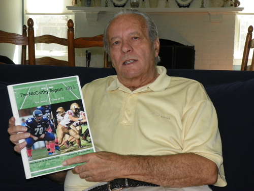 Photo by Jim Hague North Arlington resident Dennis McCarthy has once again done his due diligence and with the help of his son David has produced the 2014 McCarthy Report, the premier tout service for high school football players in New Jersey to major colleges.