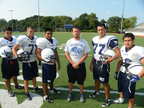 Photo by Jim Hague The Harrison High School football team will look to new head coach Matt Gallo to lead the way this season. From l. are Ariel Martins, Rich Lopez, Axel Carmona, Gallo, John DaCosta and Brandon Perez.