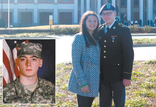 Photos courtesy Christine Griffin Army Pvt. Shane McAlinden (inset), shown in his fatigues, and w ith fi ancee Kayla Lockart in front of military museum at Ft. Benning, Ga.