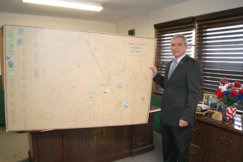 Photo by Karen Zautyk Commissioner Steve Rogers and aides, having mapped out emergency plans for Nutley, are preparing for future 'extreme weather events'
