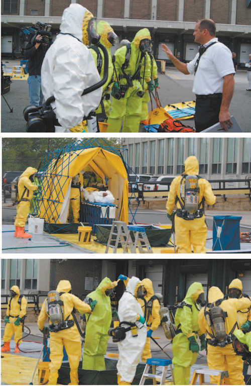 Photos by Karen Zautyk From top: At Postal Service drill, fi rst responders get fi nal instructions; an 'injured' employee on gurney undergoes decon; the decontaminators themselves are cleaned up.