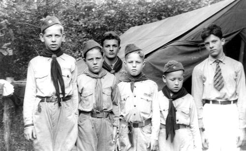 "Photo courtesy Phil Johnston Pioneer Boys at ""Camp Kearny"" in summer 1937."