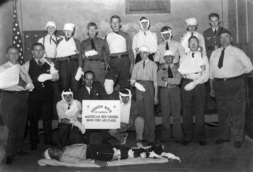 Photo courtesy Phil Johnston Pioneer boys practice first-aid in October 1940.