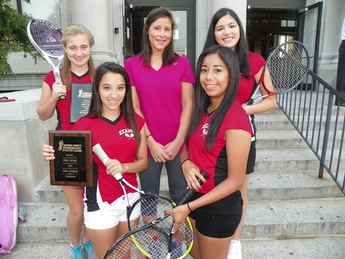 Photo by Jim Hague Both the Kearny High School girls' tennis first and second doubles teams won Hudson County Tournament championships recently. Front row, from l., are first doubles champs Gabriella Robles and Jessica Martinez. Back row, from l., are second doubles champion Mallory McBride, head coach Amy Lasker and second doubles champ Monica Shenoda.