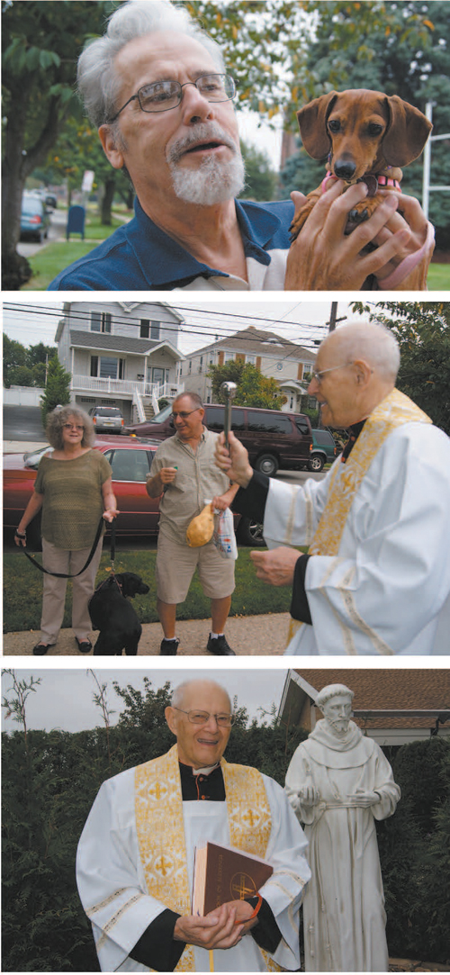 Photos by Karen Zautyk Feast of St. Francis (from top): Tiny, little Sadie from Harrison, with her human Ray Wolff; Msgr. John Gilchrist blesses Jet, who accompanied Rosemary and Walter Stutz; Gilchrist after dedicating new statue.
