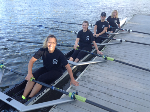 Photo courtesy Paula Cavalier The Kearny Oarsome Foursome, namely from l., Amy Beth Baptista, Cindy Springer, Paula Cavalier and Patti McCurrie, take to the Passaic River Saturday to race in the Fall Regatta. It was the first time the quartet of Kearny crew moms raced together.