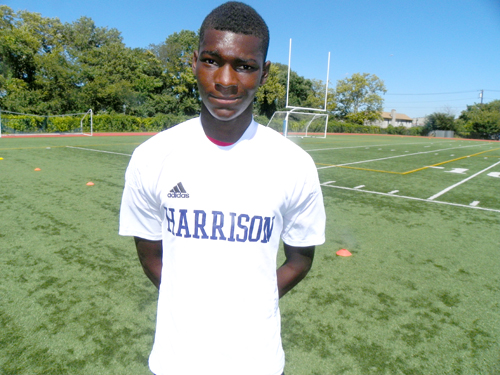 Photo by Jim Hague Harrison defender Modou Sowe has been brilliant in the NJSIAA North 2, Group II playoffs, scoring five goals in two games, enhancing his All-State possibilities.