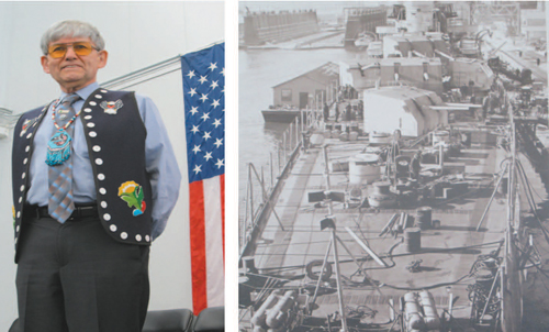 Left photo by Ron Leir; right photo courtesy County of Hudson LEFT: Juneau Assemblyman Randy Wanamaker. RIGHT: USS Juneau at Brooklyn Navy Yard for final readiness before combat mission in the Pacific.